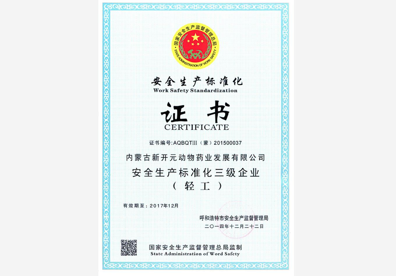 安全生产标准化证书(安监局)